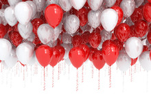 Rising Red And White Party Balloons