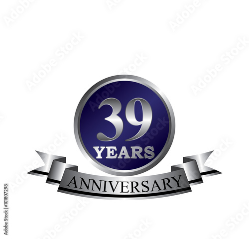 Poster  39 anniversary with blue silver ring and ribbon