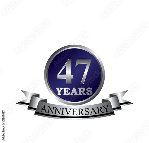 Poster  47 anniversary with blue silver ring and ribbon