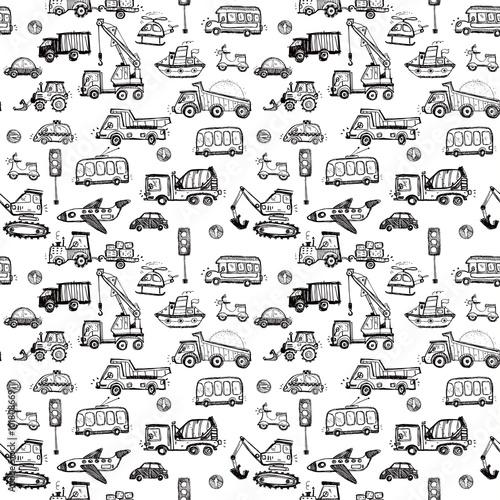 szkicowana-grafika-rozne-pojazdy-i-maszyny-traktor-samolot-koparka-skuter