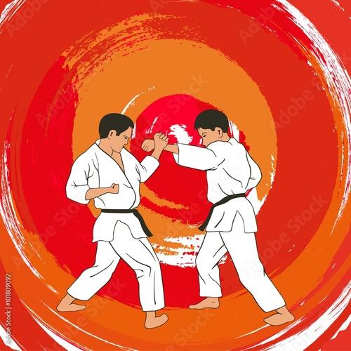 Obraz na plátně  Illustration, two boys demonstrate karate