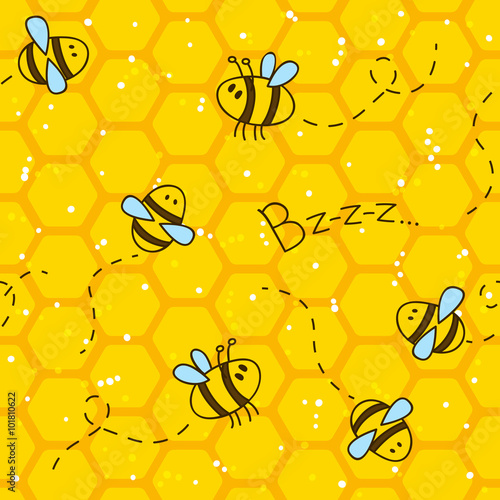 Cotton fabric Seamless pattern with bees and honeycombs