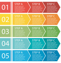 Flat Design. Process Arrows Boxes. Step By Step Set. Three Steps.