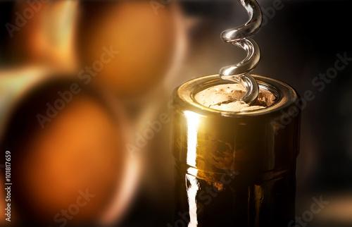 Fotografía  Sacacorchos en una botella