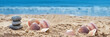 piedras y conchas sobre la arena de la playa