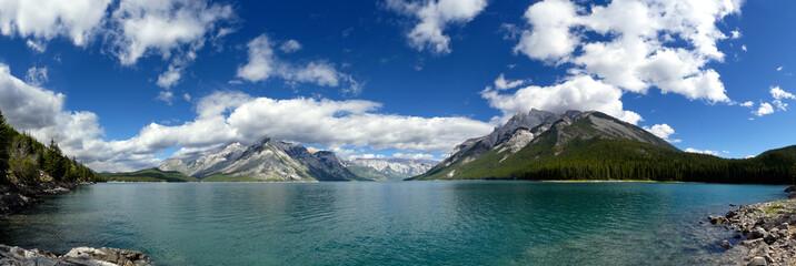 Lake Minnewanka panorama. Banff National Park - Rocky Mountains, Alberta, Canada.