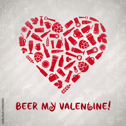 vector beer my valentine poster craft beer emblem with heart
