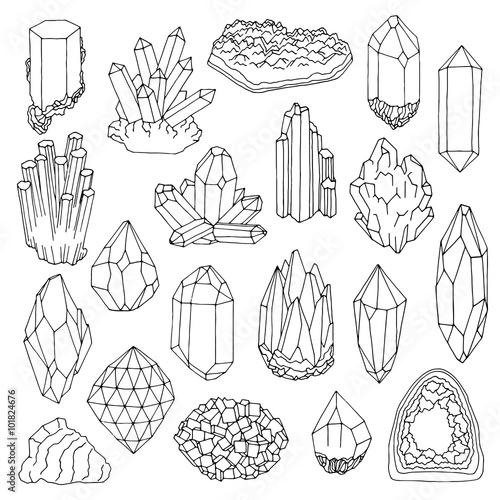 Fotografie, Obraz  Hand drawn line  crystal, mineral, gem