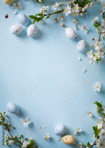 Easter eggs on wooden background - 101824685
