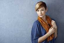 Beautiful Young Woman In Scarf