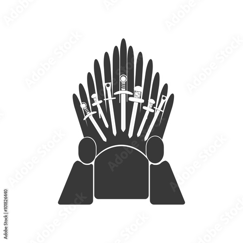 Fotomural Throne vector icon. Kingdom symbol.