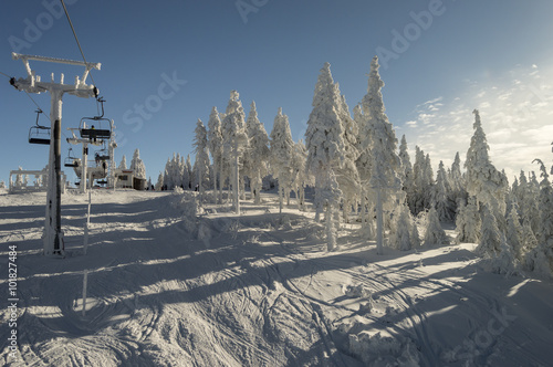 Ski lift in frozen winter nature Poster