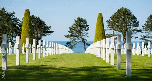 Foto op Canvas Begraafplaats Alignement de croix dans le cimetière militaire de Colleville-sur-Mer, Normandie, France. Avec la mer et des arbres en arrière-plan.