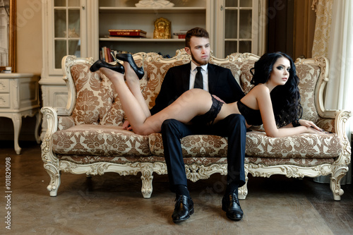 Fashion photo romance of sexy lovers couple Poster