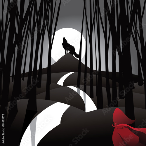 Little Red Riding Hood fairy tale depiction with howling wolf and frightened riding hood Plakát