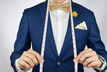 Man In Blue Suit Bowtie, Brooc...