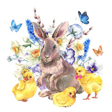 Vintage Happy Easter Greeting Card With Bunny And Chickens