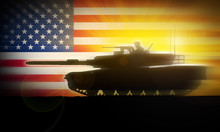 M1A2 Abrams Tank Silhouette Is Moving Rapidly Against The Background Of The American Flag.