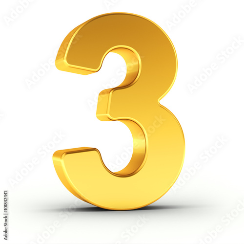 The number three as a polished golden object with clipping path Wall mural