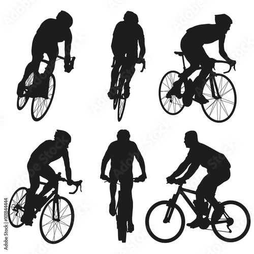 Fotografie, Obraz  Cycling silhouettes, set of vector cyclist