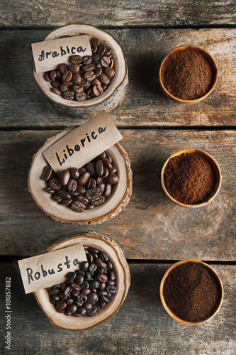 Fotobehang Koffiebonen Collection of coffee beans on old wooden table, close up