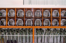 Helicopter Pilot Helmet On The Lockers