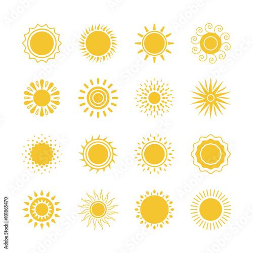 Vector Yellow Sun Symbols Sun And Sunshine Icons Collection On