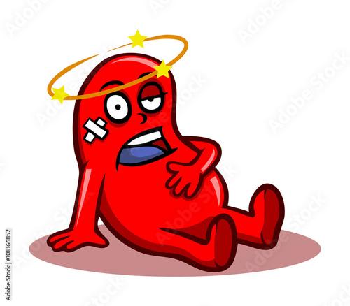 Pinturas sobre lienzo  Healthy kidney character in bad condition.