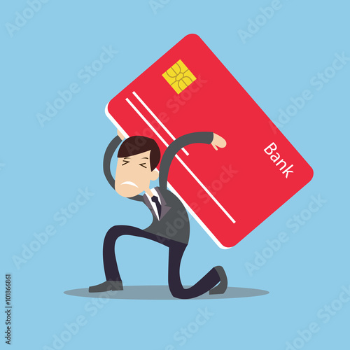 Fotografía  man carrying heavy credit card debt financial management trouble burden