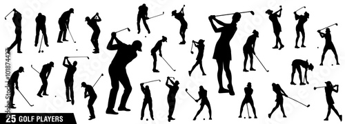 Golf silhouettes, Vector set of golf players