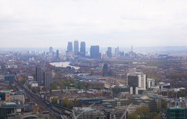 LONDON, UK - APRIL 22, 2015: Canary Wharf business and banking aria
