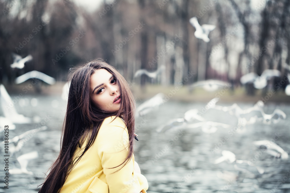 Fototapeta Magnificent Woman Outdoors. Fashion Model in Park