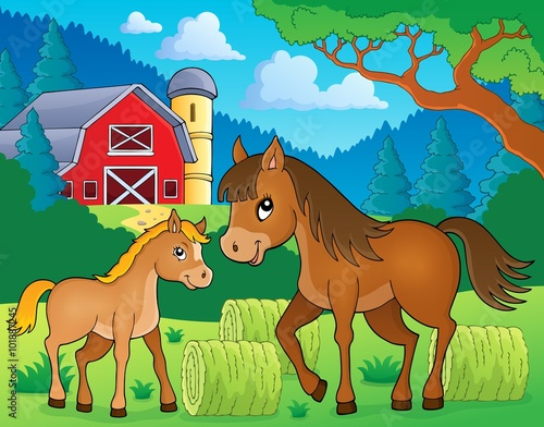 Deurstickers Pony Horse with foal theme image 3
