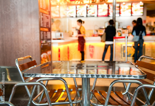 Fotografie, Obraz Seats and table at a fast food cafe