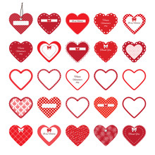 Valentine's Day Hearts Mega Set Isolated On White.
