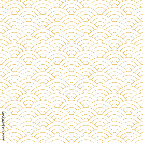 Photo  Wave Yellow Pattern. Japanese Texture. Wave Background in Vector