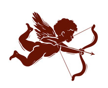 Vector Silhouette Of A Cupid S...