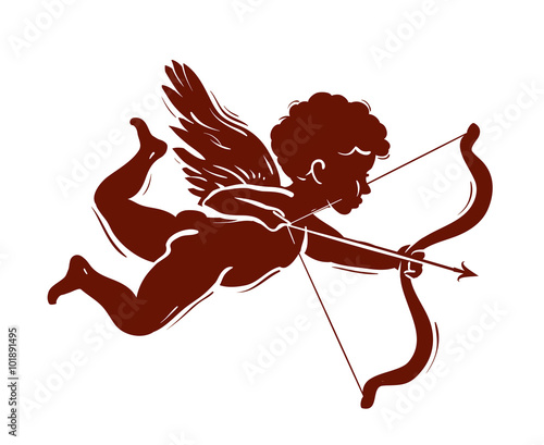 vector silhouette of a cupid shooting arrow Canvas Print