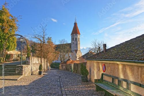 Poster Brugge Stone paving near Thun City Church in Switzerland