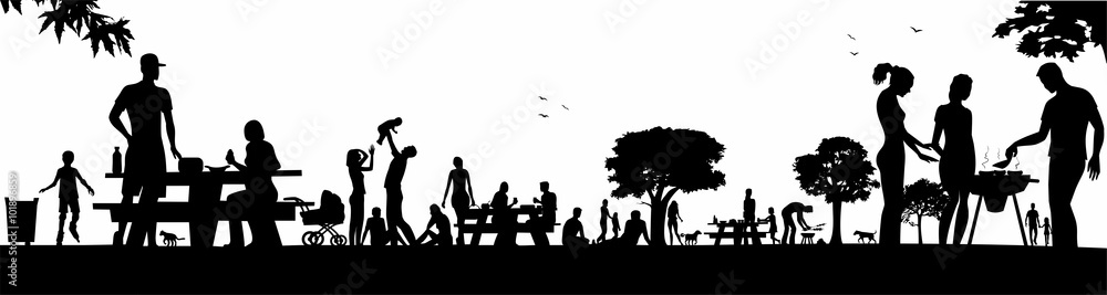 Fototapety, obrazy: people in the picnic area