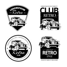 Classic Muscle Car Vector Labels, Emblems And Badges Set.  Retro Vehicle, Old Automotive Transportation Logo Illustration