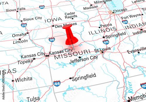 Red Thumbtack Over Missouri State USA Map – kaufen Sie diese ...
