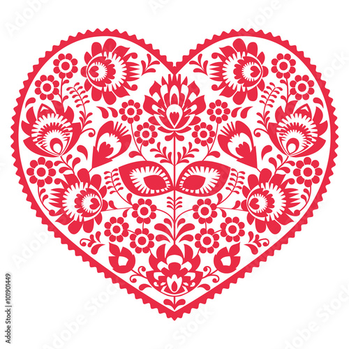Obraz Valentines Day folk art red heart - Polish pattern Wzory Lowickie, Wycinanki - fototapety do salonu