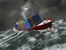 Barco Carguero En Un Mar Tormentoso