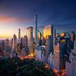 Leinwandbild Motiv New York City Manhattan at sunrise