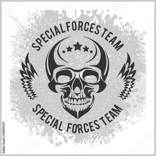 Ingelijste posters Halloween Emblem with skull