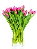 Fototapeta Tulipany - Bouquet of tulips in the vase isolated on white background