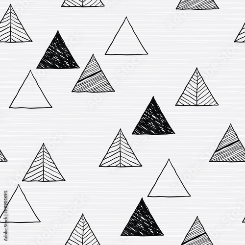 Seamless hand-drawn triangles pattern. Canvas Print