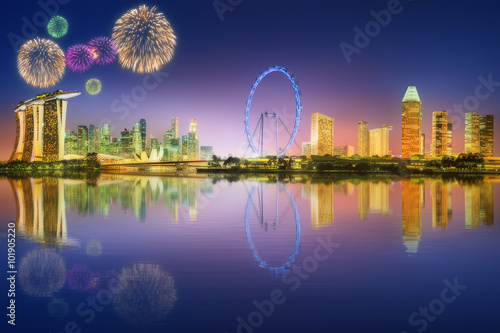 Photo  Fireworks in Marina Bay, Singapore Skyline