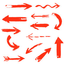 Set Of Hand Drawing Comic Red Arrows. Colorful Hand Painting Design Elements. Vector Collection On White Background.